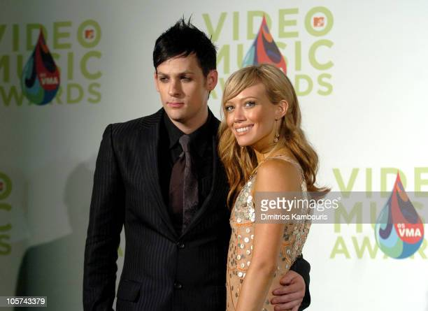 Joel Madden and Hilary Duff during 2005 MTV Video Music Awards Press Room at American Airlines Arena in Miami Florida United States