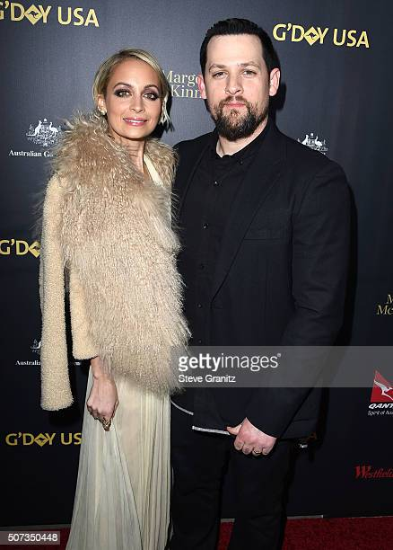 Joel Madden and Nicole Richie arrives at the 2016 G'Day Los Angeles Gala at Vibiana on January 28 2016 in Los Angeles California