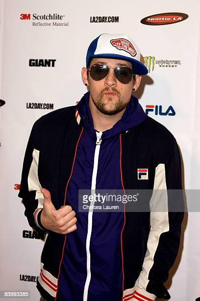 Joel Madden arrives at the Launch Of Sportie LA's Special Edition Fila Shoe on December 10 2008 in Los Angeles California