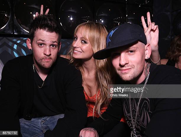 Joel Madden Nicole Richie and Benji Madden attend the Good Charlotte release party of their Greatest Hits Remix album at the ECCO Ultra Lounge on...