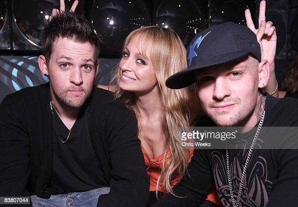 HOLLYWOOD NOVEMBER 22 Joel Madden Nicole Richie and Benji Madden attend the Good Charlotte release party of their Greatest Hits Remix album at the...