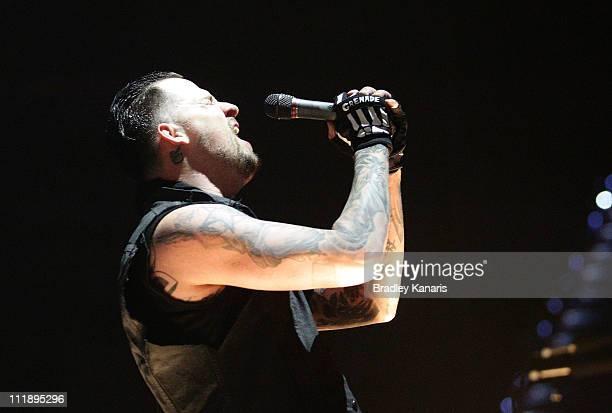 Joel Madden of Good Charlotte performs on stage at the Brisbane Entertainment Centre on April 8, 2011 in Brisbane, Australia.