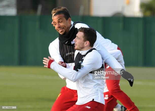 Joel Matip and Andrew Robertson of Liverpool during a training session at Melwood Training Ground on February 22 2018 in Liverpool England