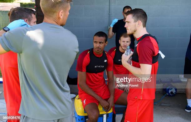 Joel Matip and Andrew Robertson of Liverpool during their first day back for preseason training at Melwood Training Ground on July 2 2018 in...