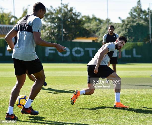 Joel Matip and Emre Can of Liverpool during a training session at Marbella Football Center on February 17 2018 in Marbella Spain