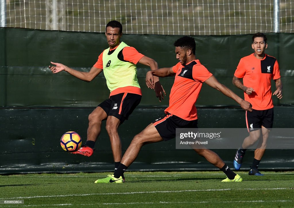 Joel Matip and Joe Gomez of Liverpool during a training session at La Manga on February 16, 2017 in La Manga, Spain.