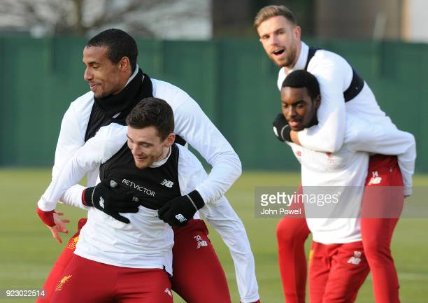 Joel Matip Andrew Robertson Jordan Henderson and Rafael Camacho of Liverpool during a training session at Melwood Training Ground on February 22 2018...