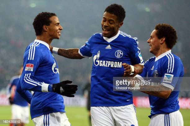 Joel Matip celebrates the first goal with Michel Bastos and Jermaine Jones during the Bundesliga match between FC Schalke 04 and Fortuna Duesseldorf...