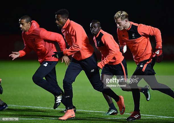Joel Matip Divock Origi Sadio Mane and Loris Karius of Liverpool during a training session at Melwood Training Ground on December 9 2016 in Liverpool...