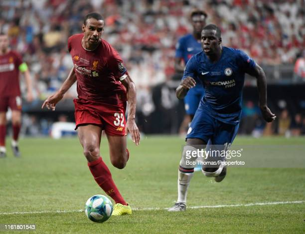 Joel Matip in action for Liverpool during the UEFA Super Cup match between Liverpool and Chelsea at Vodafone Park on August 14 2019 in Istanbul...