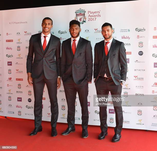 Joel Matip Joe Gomez and Kevin Stewart of Liverpool arrives at the Liverpool FC Player Awards at Anfield on May 9 2017 in Liverpool England