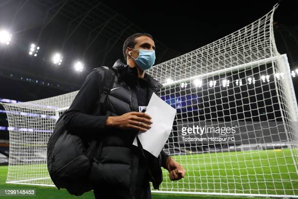 Joel Matip of Liverpool arrives at the stadium prior to the Premier League match between Tottenham Hotspur and Liverpool at Tottenham Hotspur Stadium...