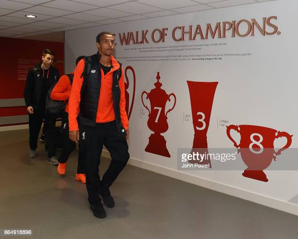 Joel Matip of Liverpool arrives before the Premier League match between Liverpool and AFC Bournemouth at Anfield on April 5 2017 in Liverpool England