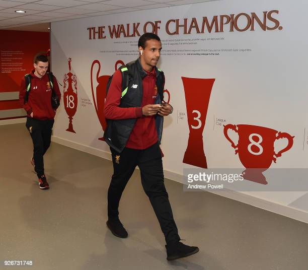 Joel Matip of Liverpool arrives before the Premier League match between Liverpool and Newcastle United at Anfield on March 3 2018 in Liverpool England