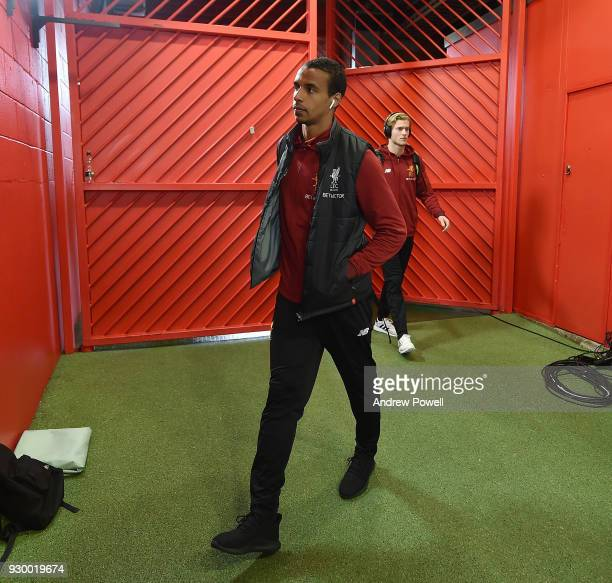Joel Matip of Liverpool arrives before the Premier League match between Manchester United and Liverpool at Old Trafford on March 10 2018 in...