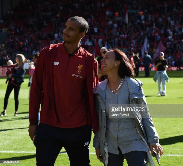 Joel Matip of Liverpool at the end of the Premier League match between Liverpool and Brighton and Hove Albion at Anfield on May 13 2018 in Liverpool...