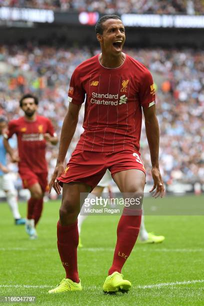 Joel Matip of Liverpool celebrates after scoring his team's first goal during the FA Community Shield match between Liverpool and Manchester City at...