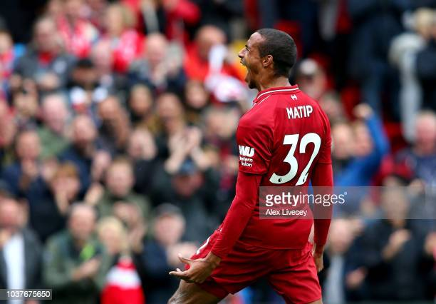 Joel Matip of Liverpool celebrates after scoring his team's second goal during the Premier League match between Liverpool FC and Southampton FC at...