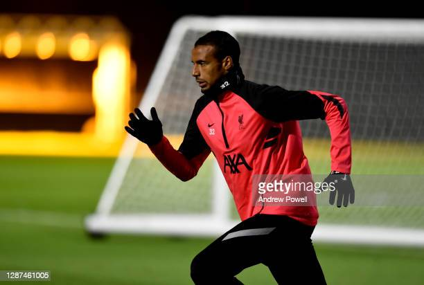 Joel Matip of Liverpool during a training session ahead of the UEFA Champions League Group D stage match between Liverpool FC and Atalanta BC at AXA...