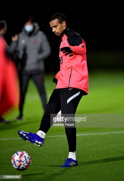 Joel Matip of Liverpool during a training session ahead of the UEFA Champions League Group D stage match between Liverpool FC and Ajax Amsterdam at...