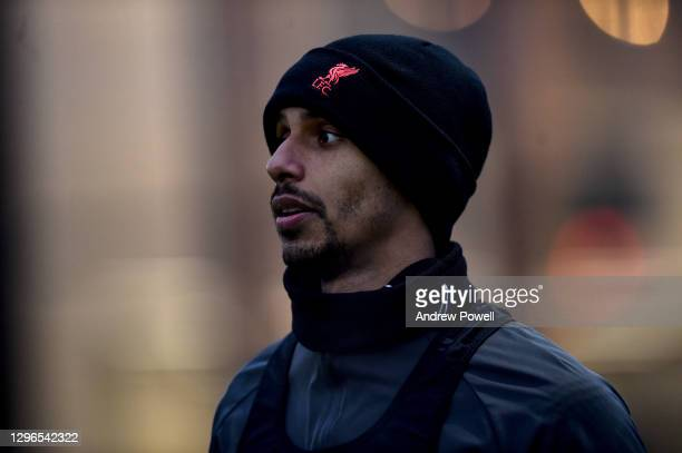 Joel Matip of Liverpool during a training session at AXA Training Centre on January 15, 2021 in Kirkby, England.