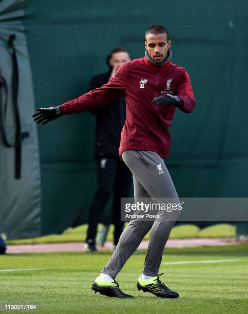 Joel Matip of Liverpool during a training session at Melwood training ground on February 18 2019 in Liverpool England