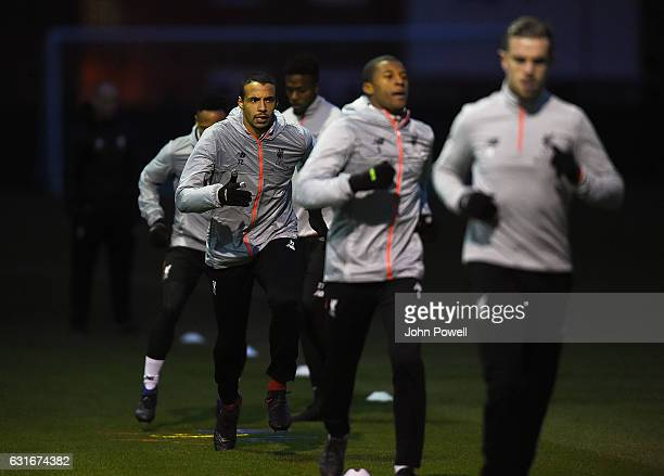 Joel Matip of Liverpool during a training session at Melwood Training Ground on January 14 2017 in Liverpool England