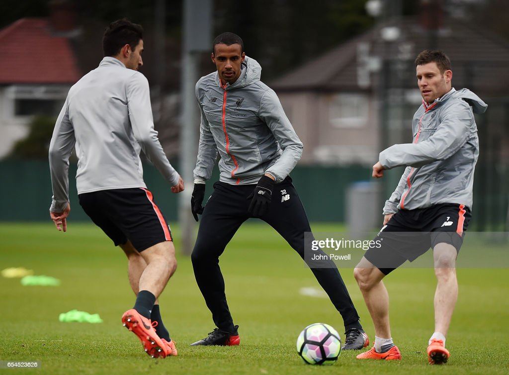 Joel Matip of Liverpool during a training session at Melwood Training Ground on March 17, 2017 in Liverpool, England.