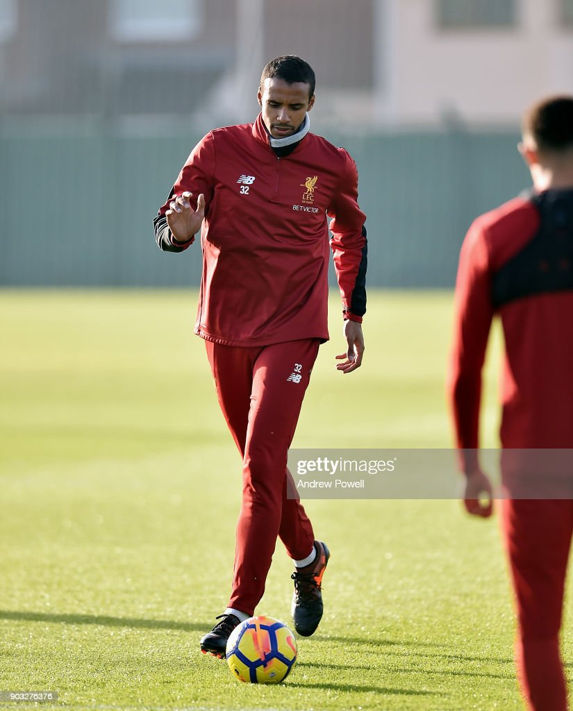 Joel Matip of Liverpool during a training session at Melwood Training Ground on January 10, 2018 in Liverpool, England.