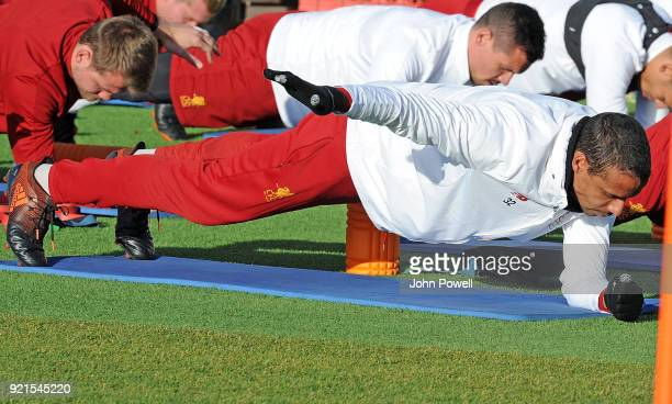 LIVERPOOL ENGLAND FEBRUARY 20 Joel Matip of Liverpool during a training session at Melwood Training Ground on February 20 2018 in Liverpool England