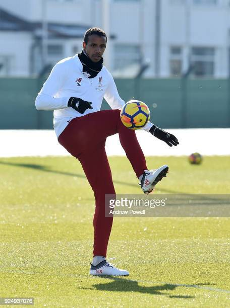 Joel Matip of Liverpool during a training session at Melwood Training Ground on February 27 2018 in Liverpool England
