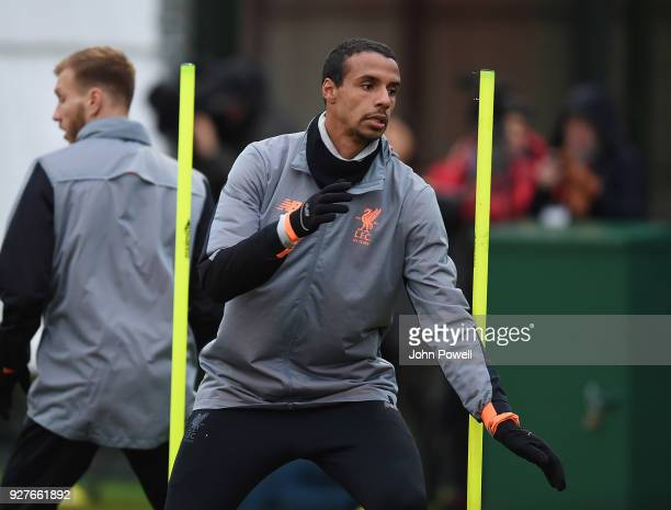 Joel Matip of Liverpool during a training session at Melwood Training Ground on March 5 2018 in Liverpool England
