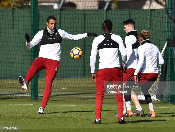 Joel Matip of Liverpool during a training session at Melwood Training Ground on March 8 2018 in Liverpool England