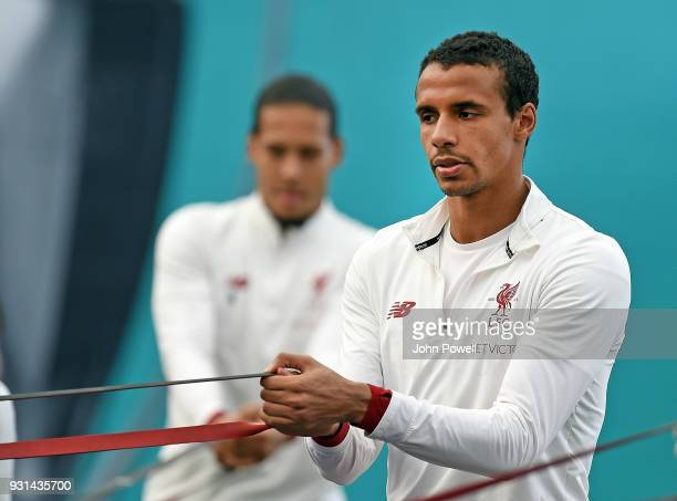 MARCH 13 Joel Matip of Liverpool during a training session at Melwood Training Ground on March 13 2018 in Liverpool England