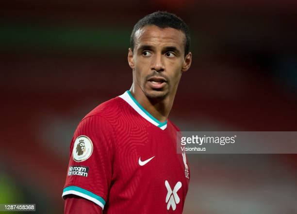 Joel Matip of Liverpool during the Premier League match between Liverpool and Leicester City at Anfield on November 22, 2020 in Liverpool, United...