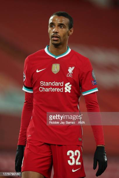 Joel Matip of Liverpool during the UEFA Champions League Group D stage match between Liverpool FC and Atalanta BC at Anfield on November 25, 2020 in...