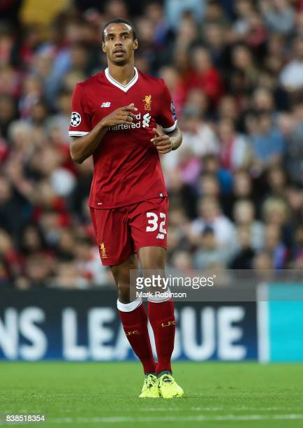 Joel Matip of Liverpool during the UEFA Champions League Qualifying PlayOffs round second leg match between Liverpool FC and 1899 Hoffenheim at...