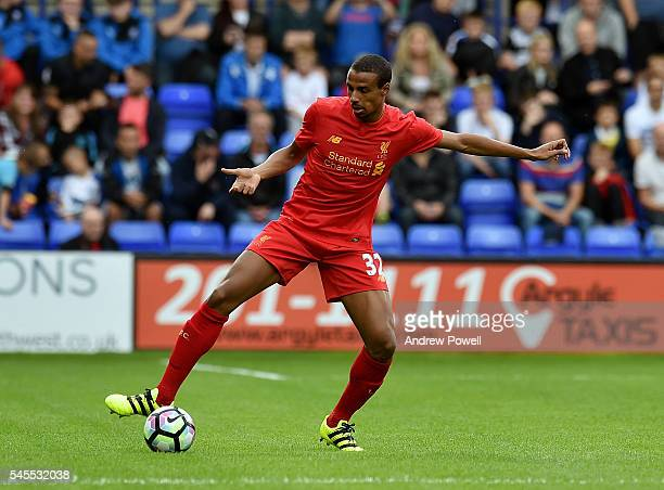 Joel Matip of Liverpool in action during a PreSeason Friendly match between Tranmere Rovers and Liverpool at Prenton Park on July 8 2016 in...