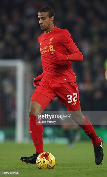 Joel Matip of Liverpool in action during the EFL Cup SemiFinal Second Leg match between Liverpool and Southampton at Anfield on January 25 2017 in...