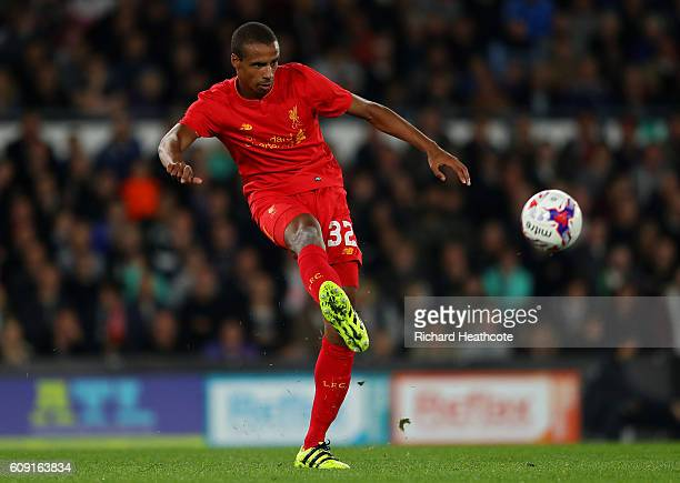 Joel Matip of Liverpool in action during the EFL Cup Third Round match between Derby County and Liverpool at iPro Stadium on September 20 2016 in...