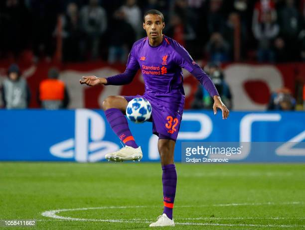 Joel Matip of Liverpool in action during the Group C match of the UEFA Champions League between Red Star Belgrade and Liverpool at Rajko Mitic...