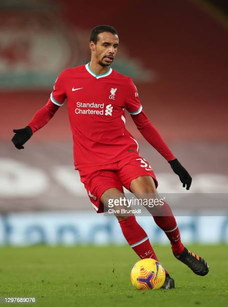 Joel Matip of Liverpool in action during the Premier League match between Liverpool and Burnley at Anfield on January 21, 2021 in Liverpool, England....