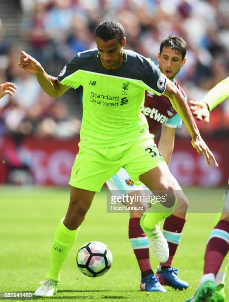 Joel Matip of Liverpool in action during the Premier League match between West Ham United and Liverpool at London Stadium on May 14 2017 in Stratford...