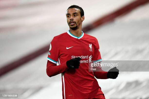Joel Matip of Liverpool looks on during the Premier League match between Liverpool and Burnley at Anfield on January 21, 2021 in Liverpool, England....