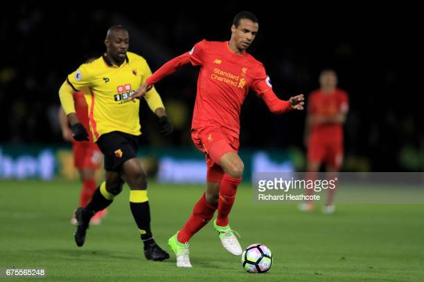 Joel Matip of Liverpool runs with the ball during the Premier League match between Watford and Liverpool at Vicarage Road on May 1 2017 in Watford...
