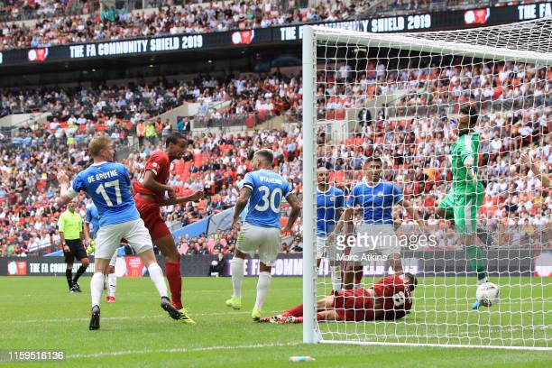 Joel Matip of Liverpool scores a goal to make it 11 during the FA Community Shield match between Liverpool and Manchester City at Wembley Stadium on...