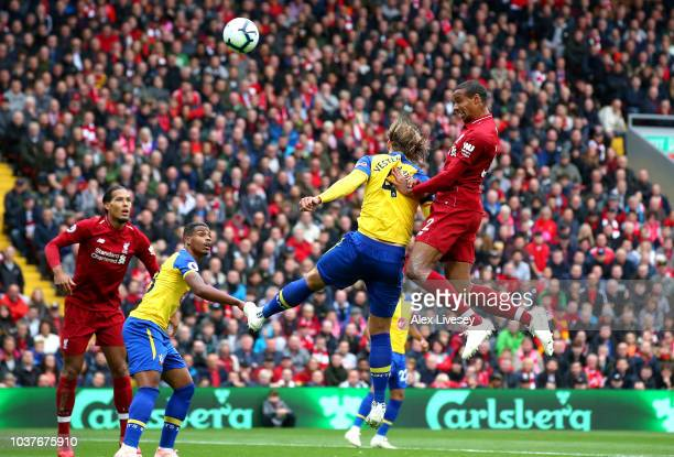 Joel Matip of Liverpool scores his team's second goal during the Premier League match between Liverpool FC and Southampton FC at Anfield on September...