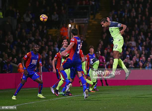 Joel Matip of Liverpool scores the third goal during the Premier League match between Crystal Palace and Liverpool at Selhurst Park on October 29...