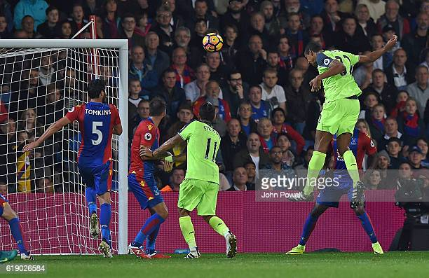 Joel Matip of Liverpool scores Third during the Premier League match between Crystal Palace and Liverpool at Selhurst Park on October 29 2016 in...