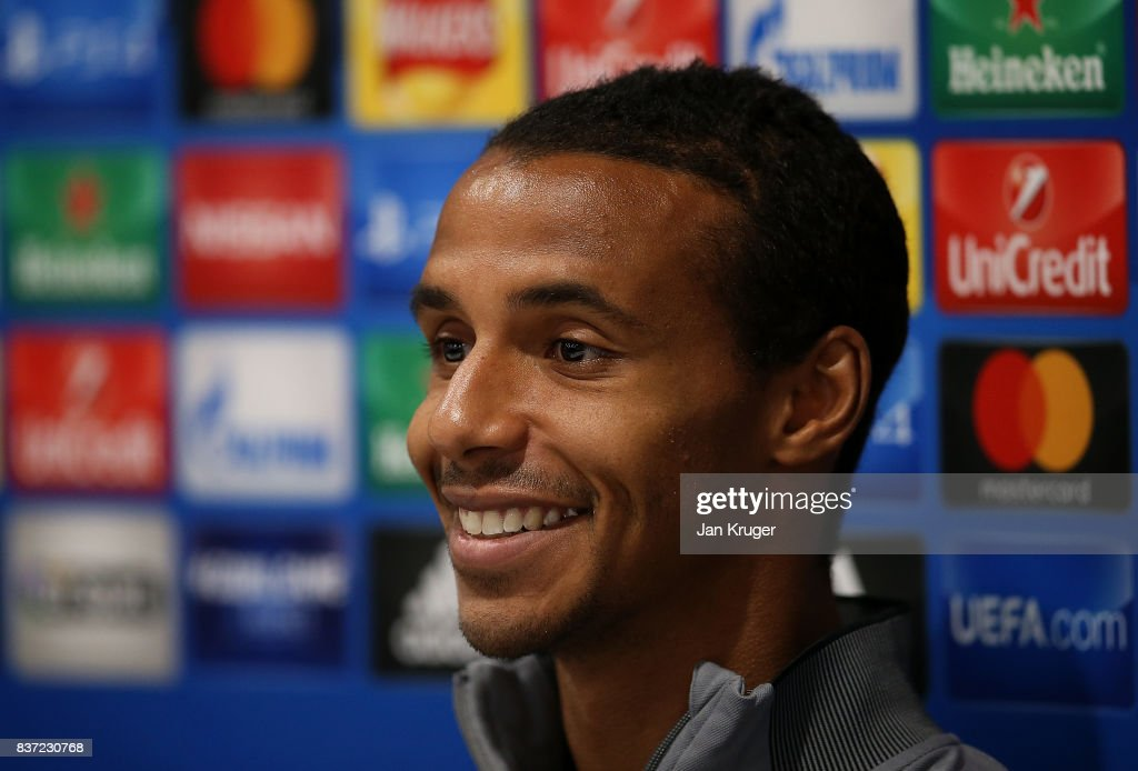 Joel Matip of Liverpool speaks to the media during the Liverpool FC Press Conference at Anfield on August 22, 2017 in Liverpool, England.
